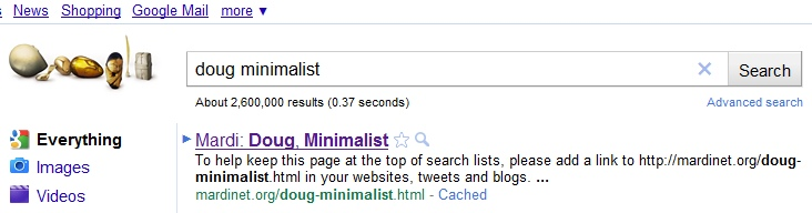 Doug Minimalist makes it to Google Number One!