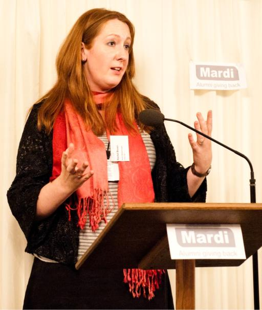 Rachel Brown speaking at the Mardi Launch